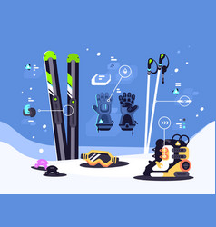 set of equipment for skiing vector image vector image