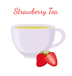 strawberry tea in cup with berries vector image