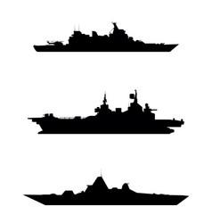 three warship silhouette vector image