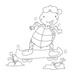 Turtles play skateboarding vector
