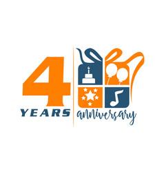 4 years gift box ribbon anniversary vector