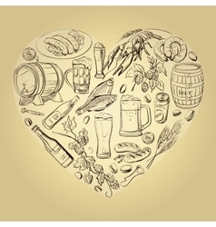 beer hand drawing Heart Background vector image vector image