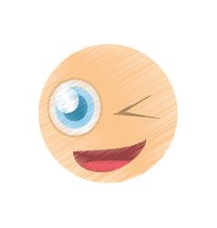 drawing wink emoticon image vector image vector image