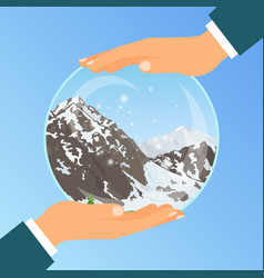 hand holding glass bowl with mountains vector image vector image
