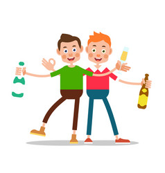 men drinking alcohol one boy is holding a bottle vector image vector image