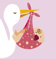 Stork with baby 2 vector image vector image