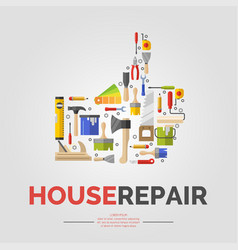 white poster with hand of tools for house repair vector image