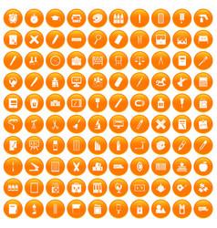 100 stationery icons set orange vector