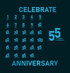 55 year anniversary aqua color template design vector