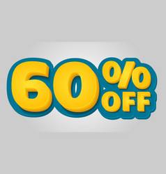 60 off discount banner special offer sale tag in vector image