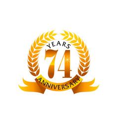 74 years ribbon anniversary vector