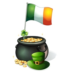 A flag a clover plant a pot of gold and a green vector image