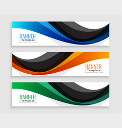 Abstract wave web banners set in three colors vector