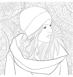 Adult coloring bookpage a cute girl wearing a cap vector