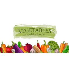 Advertising banner with fresh vegetebles hand vector