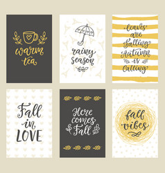 autumn seasonal stickers and gift tags vector image