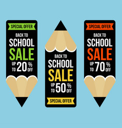 Back to school set banner pencil shaped vector