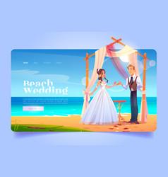 Beach wedding cartoon landing page bride and groom vector
