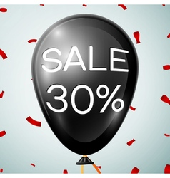 Black Baloon with text Sale 30 percent Discounts vector