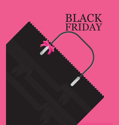 black friday shopping bag sale on pink background vector image