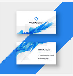 Blue abstract shape business card design template vector