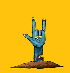 Blue cartoon zombie hand shows rock n roll vector
