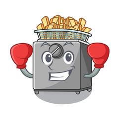 Boxing cartoon deep fryer in the kitchen vector