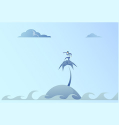 business man on island looking with binocular on vector image
