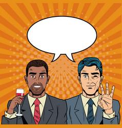 Business team pop part cartoon vector