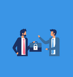 businessman hold case padlock security gdpr vector image