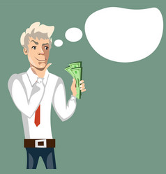 businessman thinks where to spend money vector image