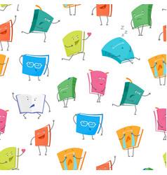 cartoon book emoji characters seamless pattern vector image