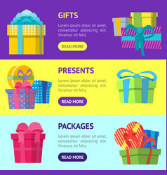 cartoon color gift boxes banner horizontal set vector image