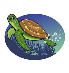 Cartoon of turtle character vector