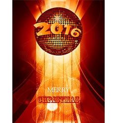Christmas 2016 glowing background with disco ball vector image