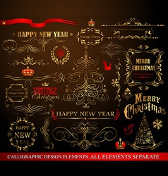 Christmas calligraphic elements vector image