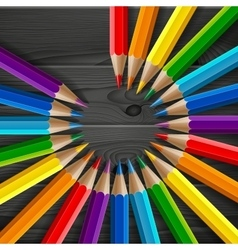 Circle of rainbow colored pencils with realistic vector