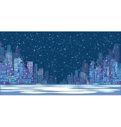 City skyline panorama winter snow landscape vector