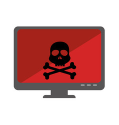 computer desktop with skull isolated icon vector image