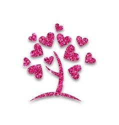 Concept tree with shimmering heart leaves vector