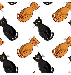 Cute flat cats seamless pattern with vector