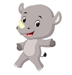 cute happy rhino cartoon vector image