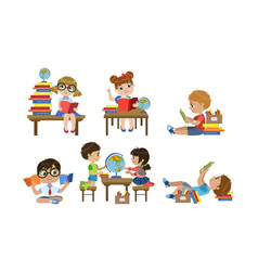 Cute kids reading books set children learning vector