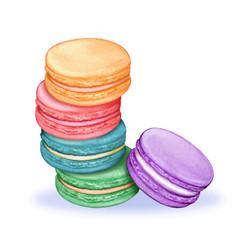 cute watercolor pastel macarons vector image