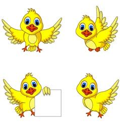 Cute yellow bird cartoon collection vector