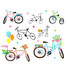 Decorated kids bicycles and bikes festival clipart vector