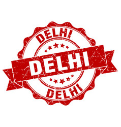 Delhi round ribbon seal vector