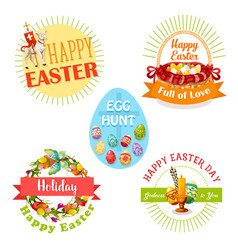 easter holiday and egg hunt celebration label set vector image
