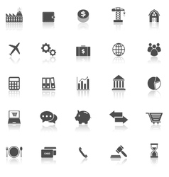Economy icons with reflect on white background vector