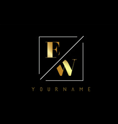 ew golden letter logo with cutted and intersected vector image